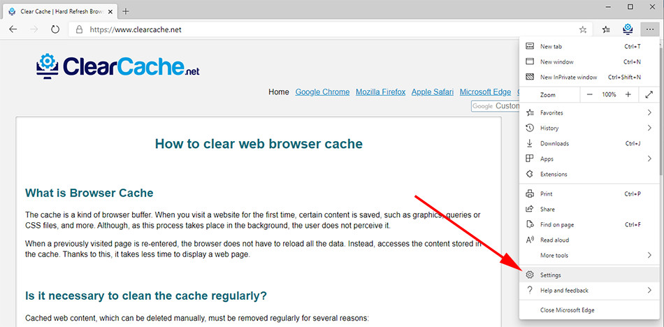 Step 2 on cleaning browser cache for edge