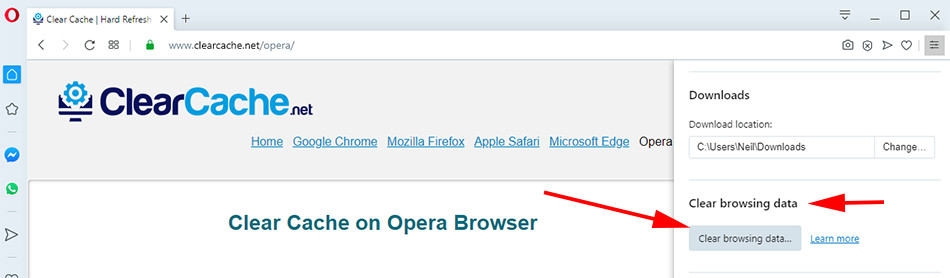 Step 2 on cleaning browser cache for opera